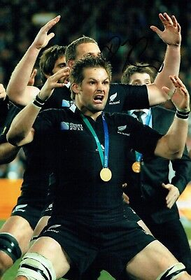 Richie McCAW Signed Autograph Photo E AFTAL COA RUGBY All Blacks New Zealand