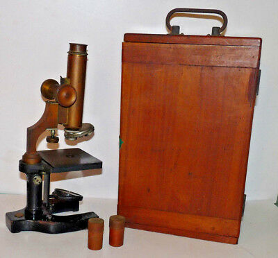 Antique Gundlach-Manhattan Brass Microscope In Dovetailed Wood Case