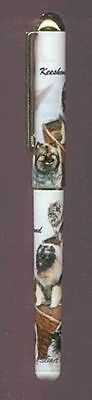 Writing Pen KEESHOND Dog Breed Smooth Rollerball Black Ink Pen Refillable