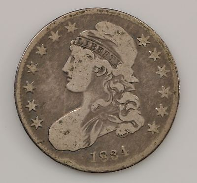 1834 Capped Bust *Small Date, Stars, Letters* Silver Half Dollar *Q00