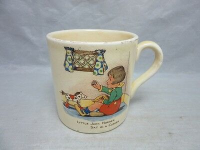 Vintage Bovey Pottery child's mug, cup. Little Jack Horner & Tom Tom piper...