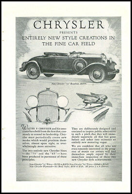 1920s vintage ad for Chrysler automobiles -732