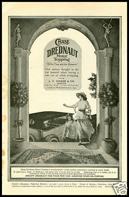 1920's vintage ad for Dreadnought Auto Toppings