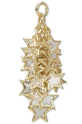 4 Gold Plated Brass & Epoxy Amber STAR Cluster Drops / 60 Charms *