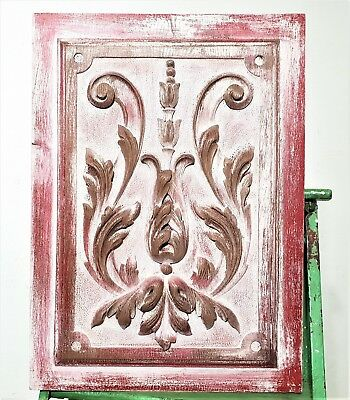 Shabby Painted Scroll Leaves Panel Antique French Carved Wood Salvaged Paneling