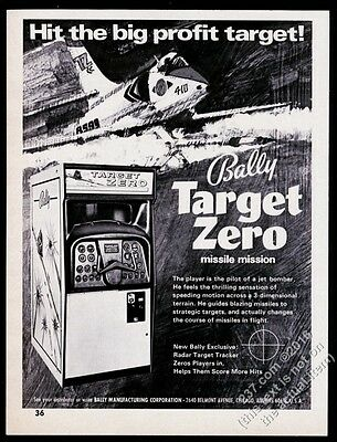 1971 Bally Target Zero coin-op arcade game machine photo vintage trade print ad