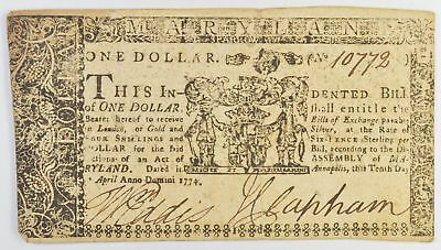 1774 $1.00 Maryland Colonial Currency *366