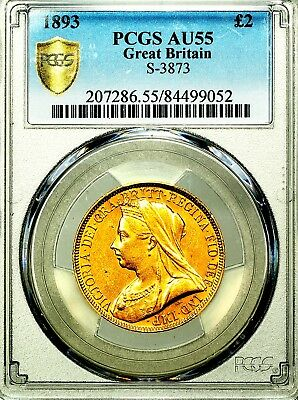 1893 Queen Victoria Great Britain Gold Two 2 Pounds Double Sovereign PCGS AU55