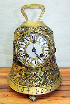 ANTIQUE FRENCH BRASS BELL SHAPED CLOCK - RARE AND BEAUTIFUL -1850's PARIS FRANCE