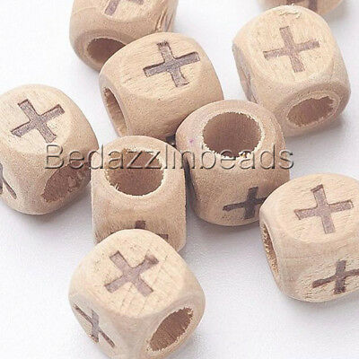 30 Engraved 8mm Square Cube Natural Wood Beads with Burned Cross Design 4mm Hole