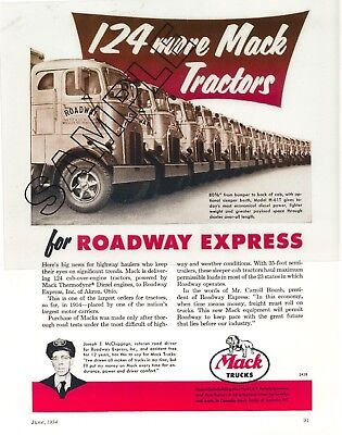 ROADWAY EXPRESS 1954 MACK H-61T Tractor Fleet Magazine Ad 8x10 COLOR Photo