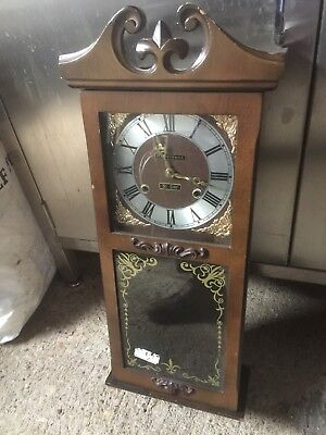 "Vintage ""president"" 31 Day Wall Clock With Key & Pendulum Chime Gwo"