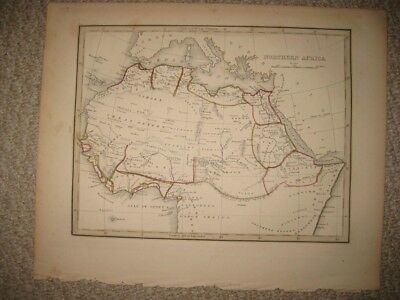 Antique 1835 North Northern Africa Bradford Map Morocco Mountains Of Moon Kong