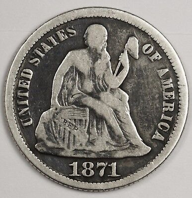 1871 Liberty Seated Dime.  Fine.  118966