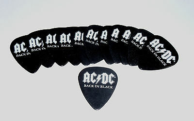 Ac/dc Back In Black With White Logo 12 Guitar Pick Set New