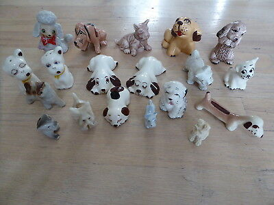 Vintage Dog Figure Figurine Lot ~ Ceramic Rock  Poodle Hound Terrier ++ OLD
