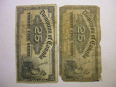 1900 Dominion of Canada 25 Twenty-Five Cents Shinplaster Banknotes - Lot of 2