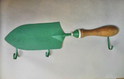 Vintage Wall Hooks Green Metal and Wood Trowel with 4 Hooks Dept 56