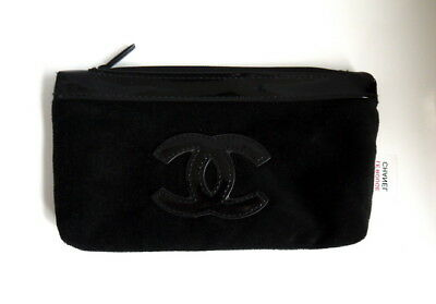 Chanel Beauty Makeup Black Velvet Bag Wallet Iphone Pouch Clutch VIP Gift