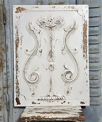 Shabby Painted Dragon Panel Antique French Hand Carved Wood Salvaged Paneling