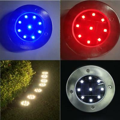 Solar Powered 9-LED Buried Inground Light Garden Outdoor Pathway Path Lawn Lamp