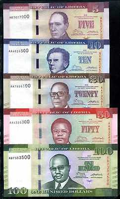 LIBERIA 5+10+20+50+100  DOLLARS  2016  SET 5 PCS  - P 30-35   Unc