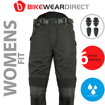 Womens Black Waterproof CE Armoured Motorcycle Motorbike Trousers For Ladies