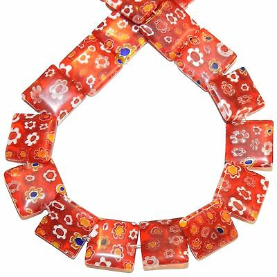 """G4030L Red with Multiple Color Millefiori Flower 14mm Flat Square Glass Bead 14"""""""