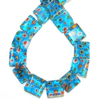 """G4036L Blue w Multiple Color Flowers 14mm Flat Square Millefiori Glass Beads 14"""""""