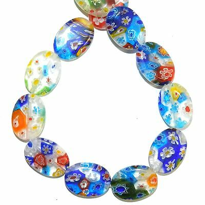 """G4481L Mosaic Multiple Color Flowers 18mm Flat Oval Millefiori Glass Beads 14"""""""