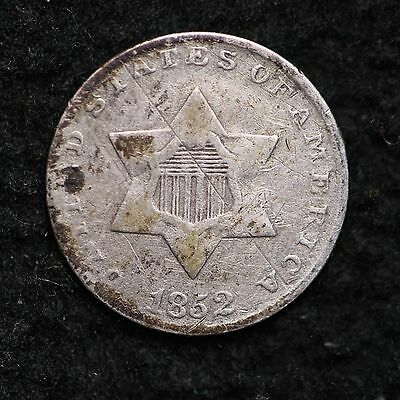 1852 Three Cent Silver Piece CHOICE FINE FREE SHIPPING E227 CM