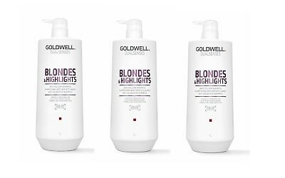 3 x Goldwell BLONDES & HIGHLIGHTS ANTI GELBSTICH SHAMPOO 1000 ml = 3000 ml