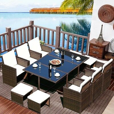 11 PCS Outdoor Patio Dining Set Rattan Wicker Table Single Chairs Furniture Set