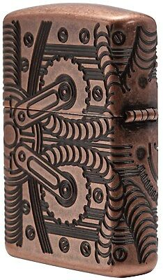 Zippo Lighter: Armor MultiCut Steampunk Gears - Antique Copper 29523