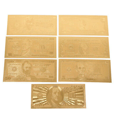 Hot 1 Set 7 Pcs Gold Plated USD Paper Money Banknotes Crafts For Collection ESUS