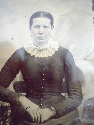 Antique Tintype Photo Hand Tinted Woman in Great Collar Fashion