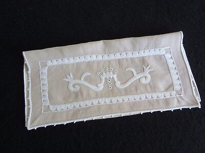 Antique Vintage French Hand Embroidered LINEN Glove Keeper HANKIE Pouch