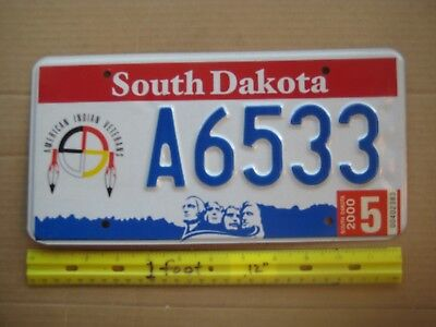 License Plate, South Dakota, American Indian Veterans, 2 feathers++, A 6533