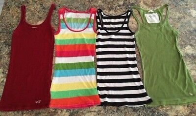 Lot 4 Long Summer Tank Tops Small Medium Stretch Abercrombie & Fitch - Hollister