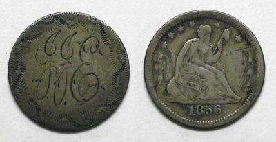 "X78  1856 Liberty Seated Quarter LOVE TOKEN, ""JJE"""