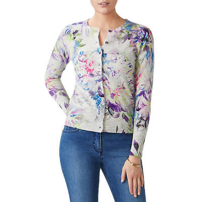 luxury 100% CASHMERE supersoft digital floral CARDIGAN by PURE UK14 US10 bnwt