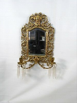 Antique Brass Last Look Mirror With 2 Candles & Crystal Drops God With Beard