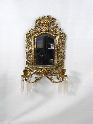 Antique Heavy Brass Last Look Mirror With 2 Candles & Crystal Drops Bearded Face