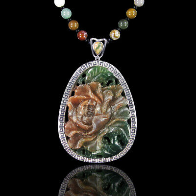 Carved Fancy Agate Peony Silver Necklace DD306029