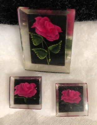 Vintage 1950s Lucite Reversed Carved Rose Brooch & Screw Back Earrings Set
