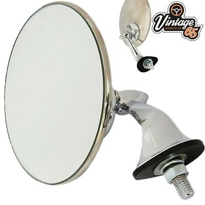 Kit Car Hotrod Retro Lucas Style Chrome Adjustable Flat Wing Door Mirror Left