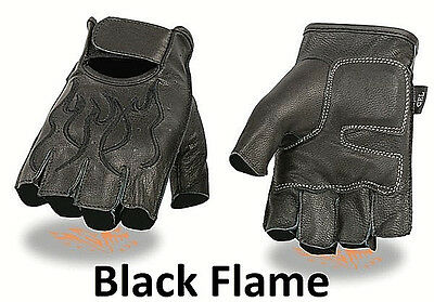 FINGERLESS Black Leather Gloves BLACK FLAMES Gel Palm Motorcycle Biker Rider