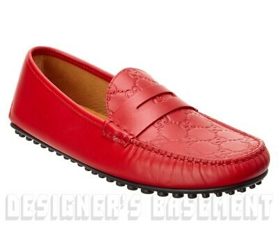 68385ec8b84 GUCCI men 12G  Red GUCCISSIMA leather KANYE driving Moccasin shoes NIB Auth   580