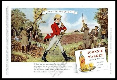 1947 Johnnie Walker Scotch whisky hunting hunter art vintage print ad