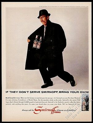 1965 Groucho Marx photo Smirnoff Vodka vintage print ad